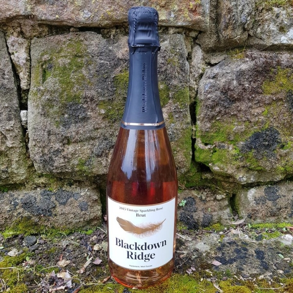 A bottle of Blackdown Ridge, pink sparkling rose