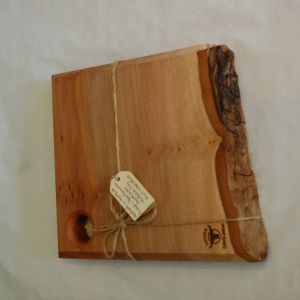 London Plane square food board with live bark edge and hanging hole