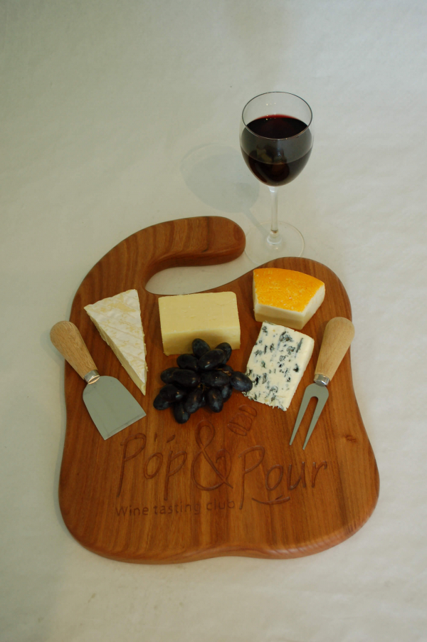 Large Elm food board with hook and showing personalisation and logo