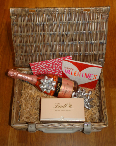 Hamper with wine and chocolates